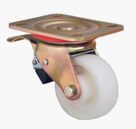 Поворотное нейлоновое колесо большегрузное с тормозом