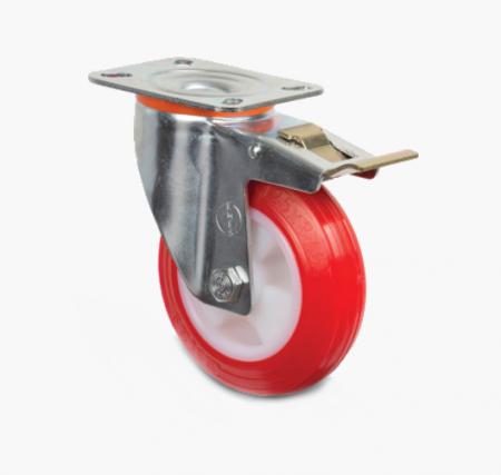 Поворотное полиуретановое колесо с тормозом