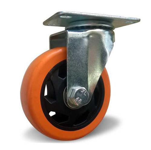 Поворотное колесо оранжевая резина 100 мм
