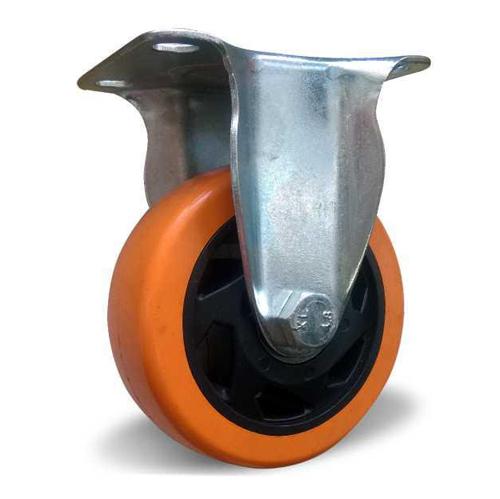 Неповоротное колесо оранжевая резина 100 мм