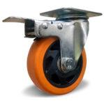 Поворотное колесо с торм. оранжевая резина 100 мм